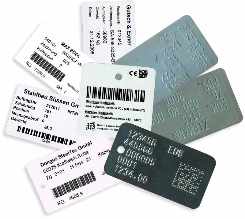 Etiketten-Varianten zur Materialmarkierung oder Bauteilrückmeldung
